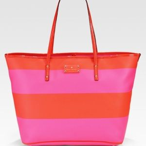 KATE SPADE boutique harmony stripe red pink tote